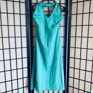 Patagonia morning glory halter teal dress L